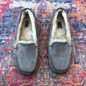 Ugg Grey leather slip on fur lined moccasins